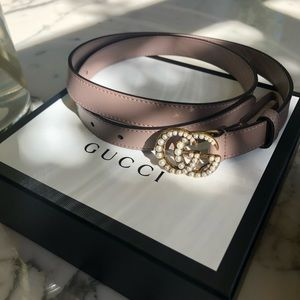 Gucci leather belt double G buckle with pearl